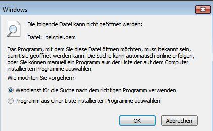 Fehlermeldung: Folgende Datei kann nicht geöffnet werden