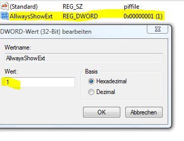 Dateierweiterungen anzeigen Registry