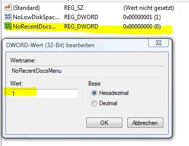 Zuletzt verwendete Dokumente Registry