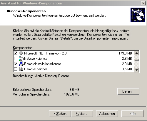 Assisten für Windows-Komponenten