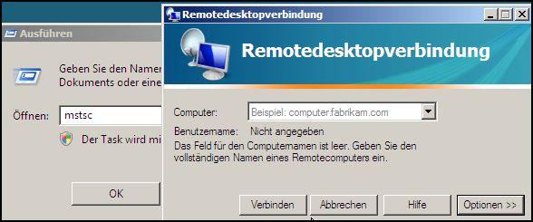 MSTSC Remotedesktopverbindung