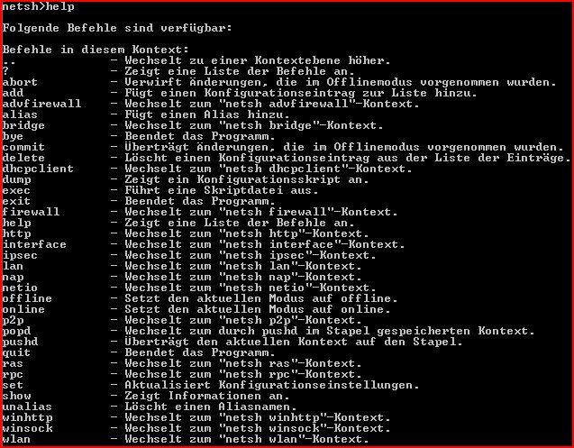 Netsh-Befehlsreferenz