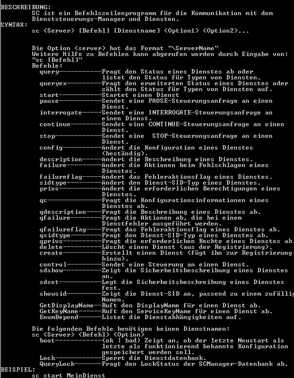 sc.exe Dienste konfigurieren