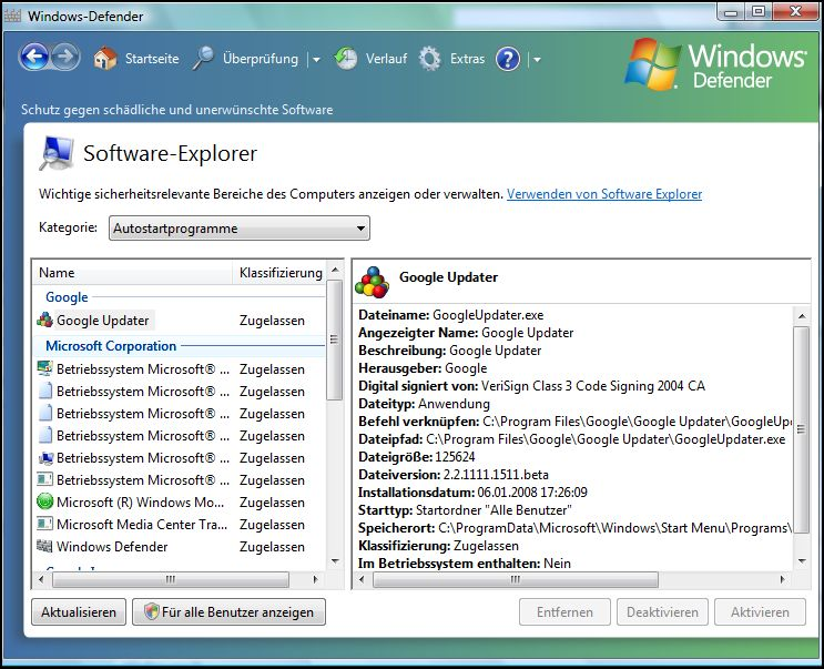 Windows Defender Software-Explorer