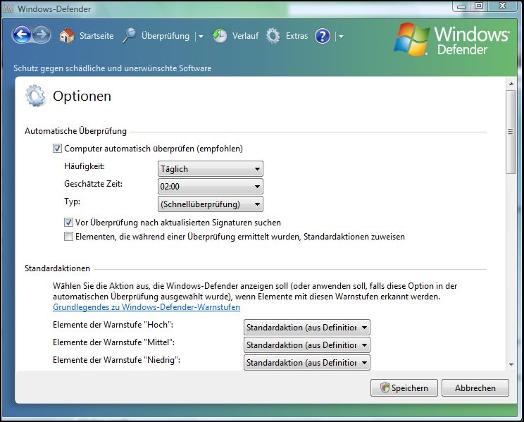Windows Defender Optionen