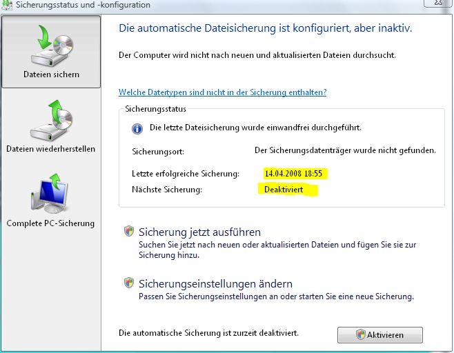 Sicherungsstatus und -konfiguration