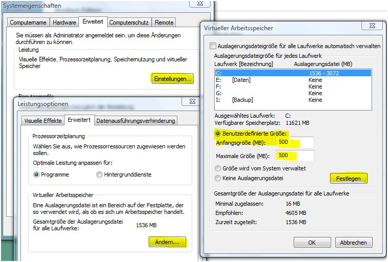Pagefile optimieren-Systemeigenschaften