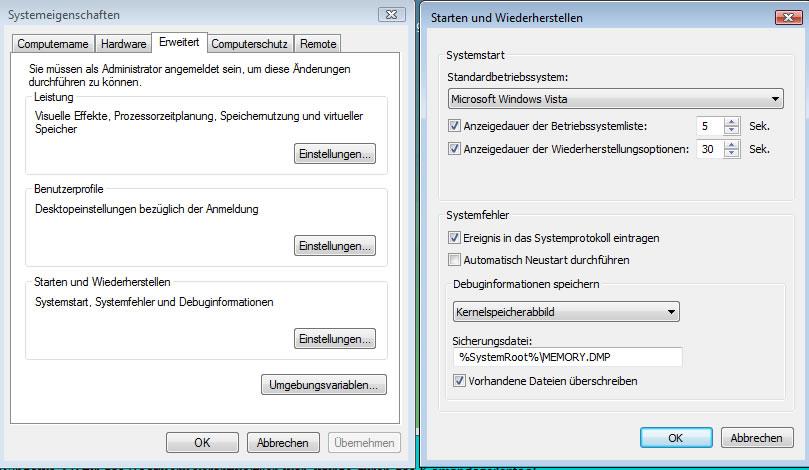Bootmenü bearbeiten-Systemeigenschaften