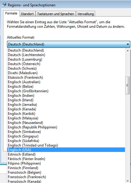 Regions- und Sprachoptionen