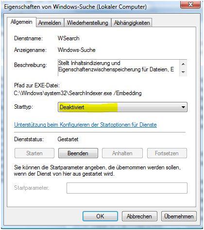Windows Suche deaktivieren