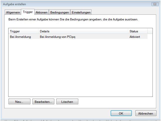 Aufgabenplanung-Aufgabe erstellen-Trigger