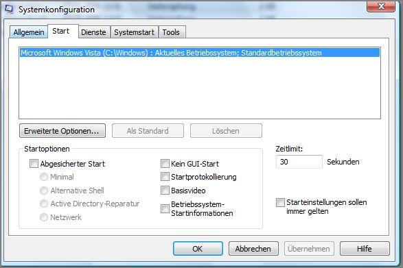 Systemkonfiguration-Start