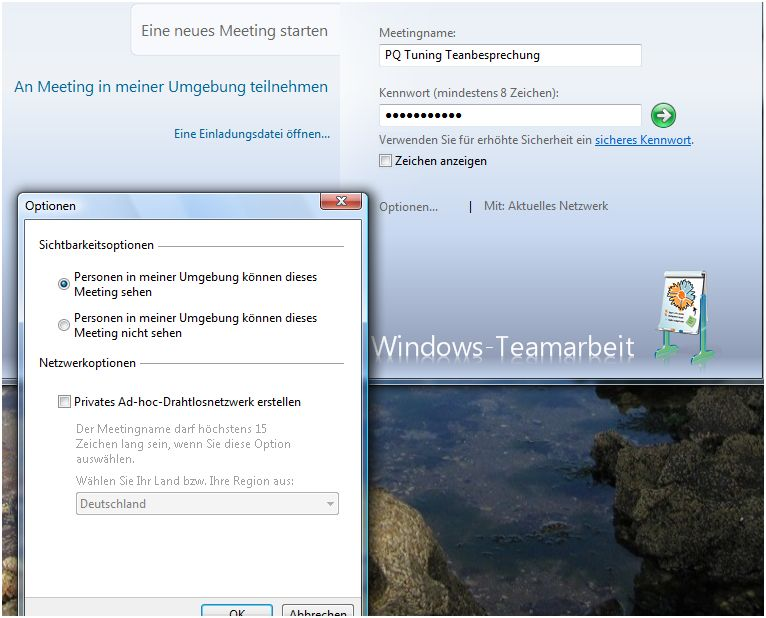 Windows-Teamarbeit-Setup-Optionen