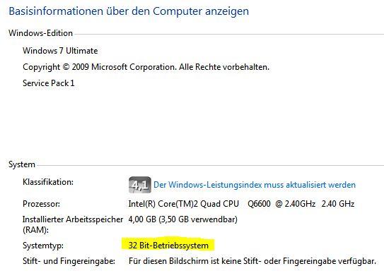 Basisinformationen 32 Bit-Betriebssystem