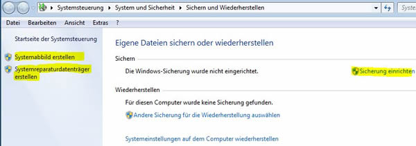 Datensicherung in Windows 7