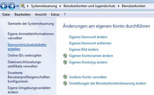 Kennwortrücksetzdiskette erstellen und verwenden