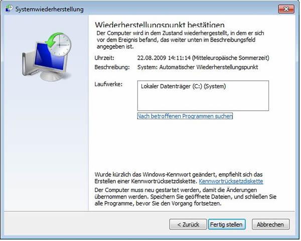 Windows System wiederherstellen