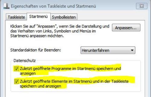 Eigenschaften von Taskleiste und Startmenü