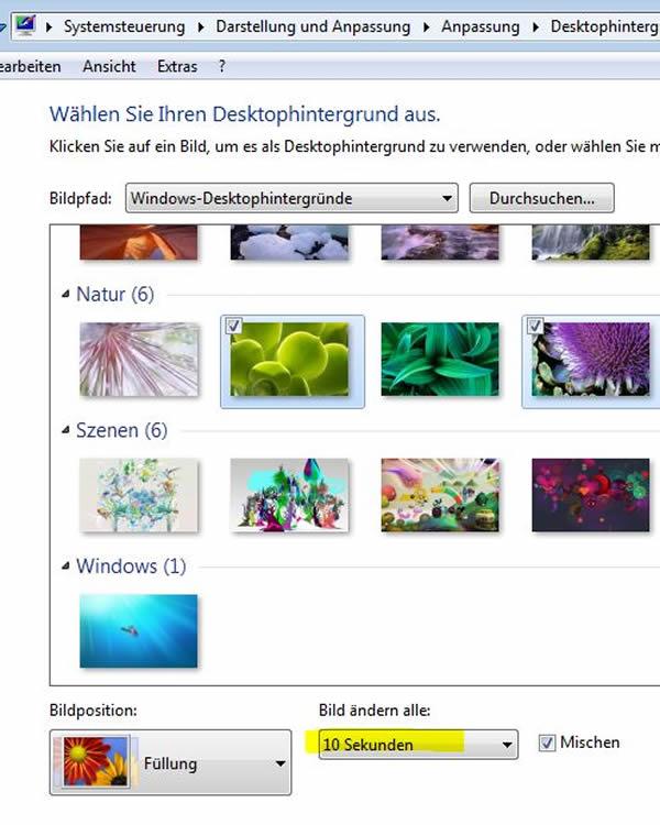 Desktop Hintergrund -Diashow verwenden