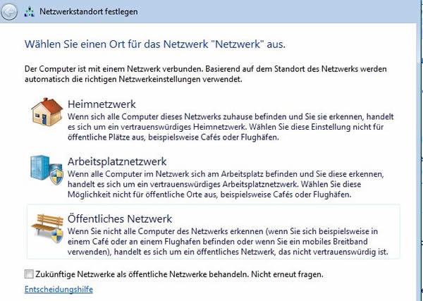 Netzwerkstandort festlegen