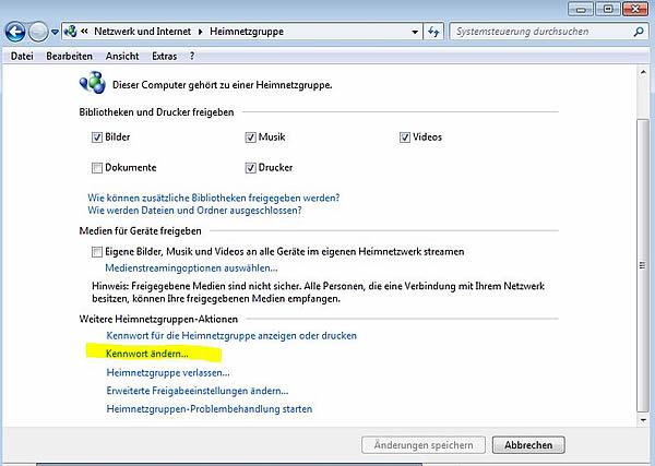 windows 7 netzwerk passwort