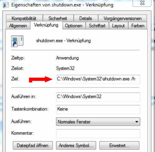 Eigenschaften von shutdown.exe